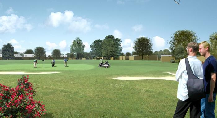 Kildebjerg Ry visualisering vestfasen med udsigt til golfbanen